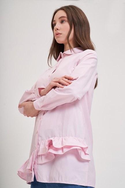 Mizalle - Altı Fırfırlı Poplin Gömlek (Pembe)