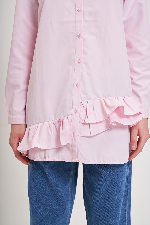 Altı Fırfırlı Poplin Gömlek (Pembe)