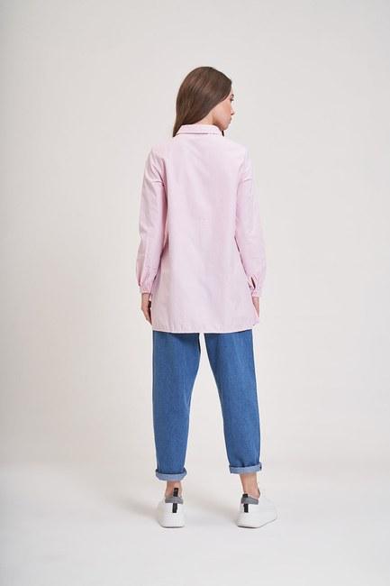 MIZALLE YOUTH - Altı Fırfırlı Poplin Gömlek (Pembe) (1)