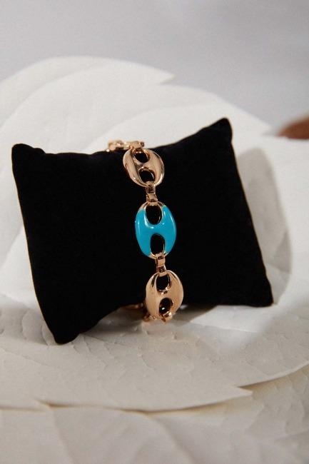 Mizalle - Altın Kaplama Renkli Bileklik (Mavi)