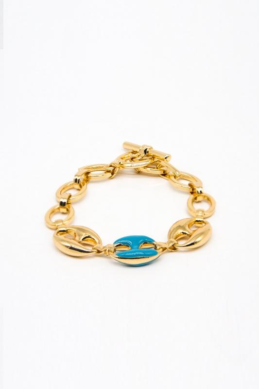 Altın Kaplama Renkli Bileklik (Mavi)