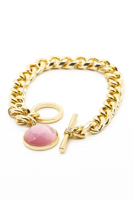 MIZALLE - Gold Plated Bracelet (Pink) (1)