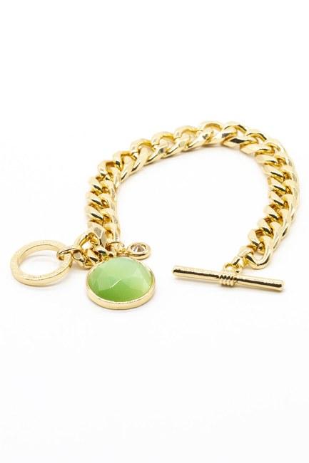 Altın Kaplama Taşlı Bileklik (Yeşil) - Thumbnail