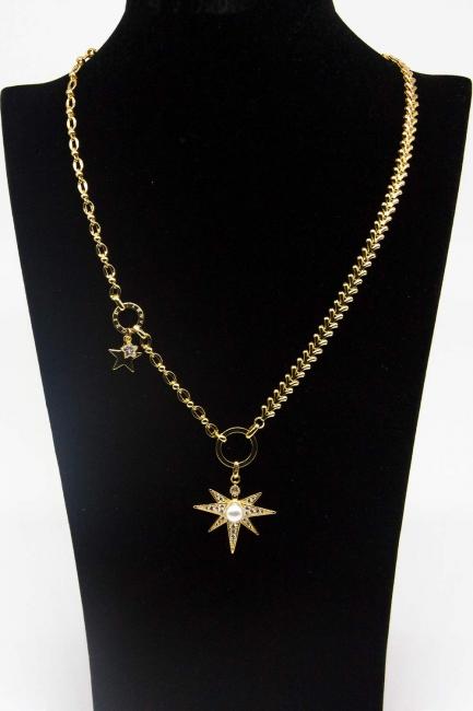Altın Kaplama Yıldız Kolye - Thumbnail