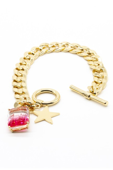 MIZALLE - Gold Plated Chain Bracelet (Fuchsia) (1)