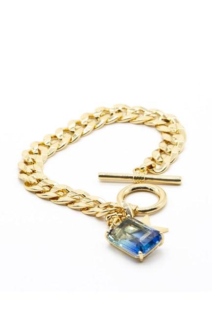 MIZALLE Altın Kaplama Zincir Bileklik (Mavi)