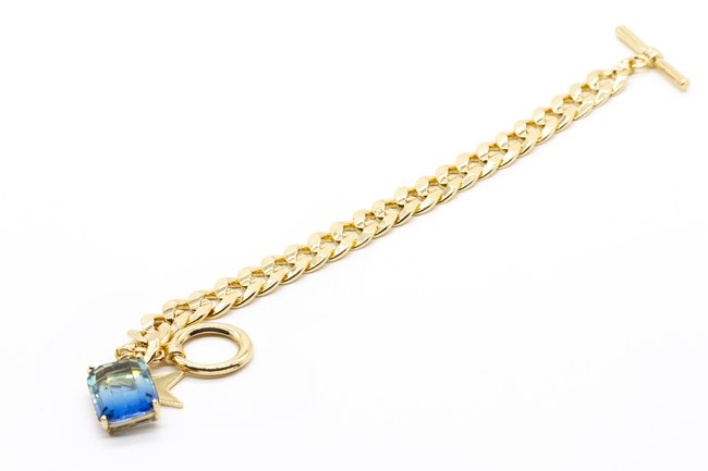 MIZALLE - Gold Plated Chain Bracelet (Blue) (1)