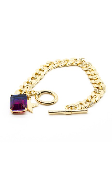 MIZALLE - Gold Plated Chain Bracelet (Pink) (1)