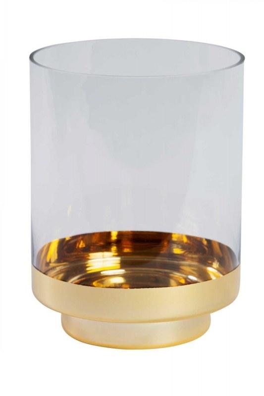 حامل شموع زجاجي مع حامل ذهبي اللون (كبير)