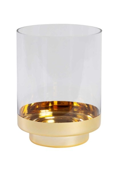 MIZALLE Glass Candle Holder With Gold Color Stand (Large)