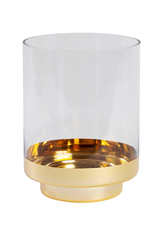 MIZALLE Altın Rengi Standlı Cam Mumluk (Büyük) (1)