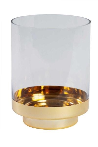Altın Rengi Standlı Cam Mumluk (Büyük) - Thumbnail
