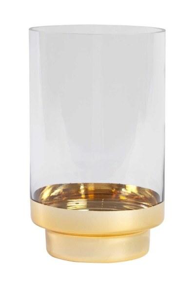 MIZALLE حامل شموع زجاجي مع حامل ذهبي (صغير)