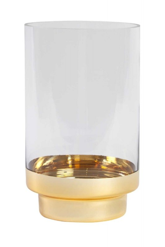Glass Candle Holder With Golden Stand (Small)