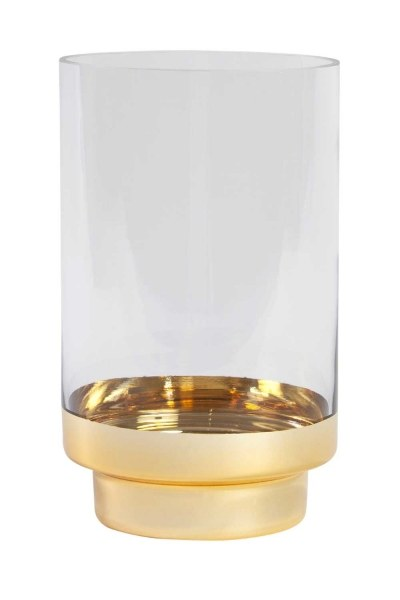 MIZALLE HOME Glass Candle Holder With Golden Stand (Small)