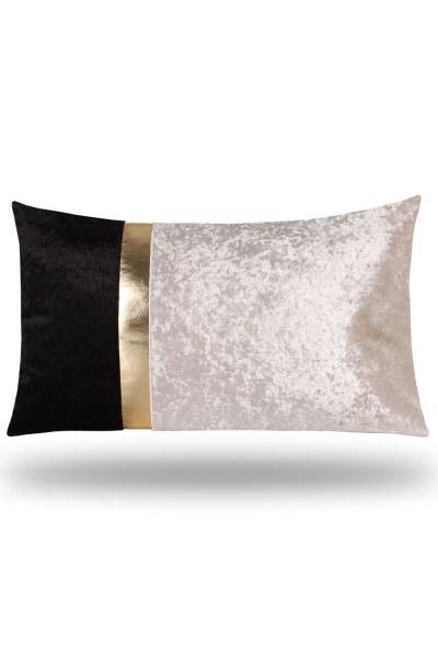 Golden Striped Velvet Pillow Cover (35X60) - Thumbnail