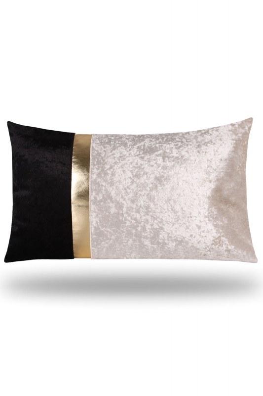 Golden Striped Velvet Pillow Cover (35X60)