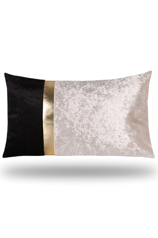 Golden Striped Velvet Pillow Cover (35X60)