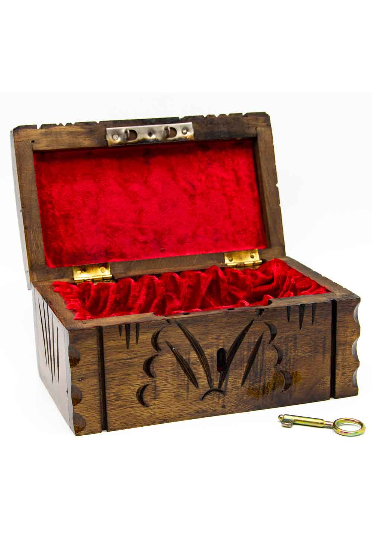 MIZALLE صندوق مجوهرات الجوز مع مفتاح (ستيل) (1)