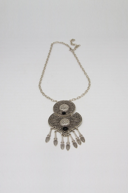 Mizalle - Antik Gümüş Kaplama İşlemeli Kolye