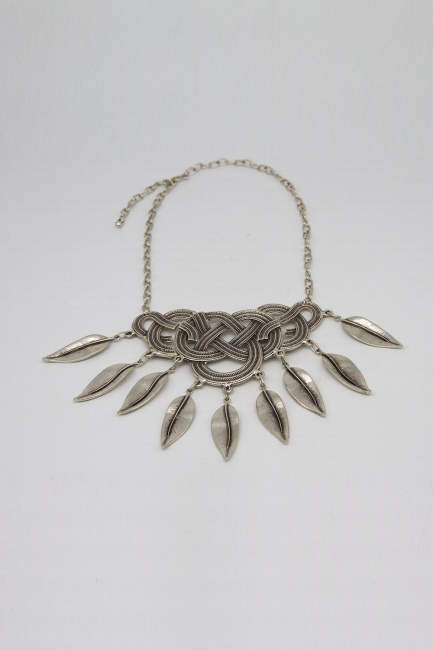 Mizalle - Yaprak Detaylı Antik Gümüş Kaplama Kolye