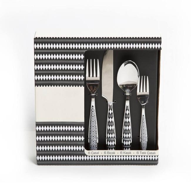 Mizalle Home - طقم سكين و شوكة وملعقة منقوش (24 قطعة)
