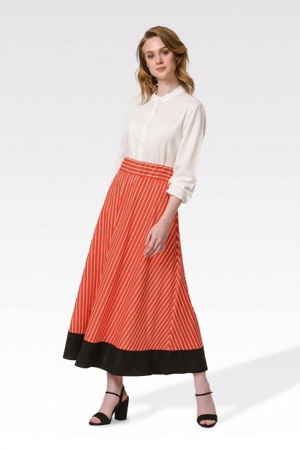 Mizalle - تنورة طويلة مخططة (برتقالي- أحمر)