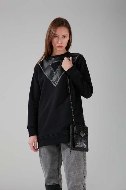 Mizalle - حقيبة كتف بمشبك (أسود )