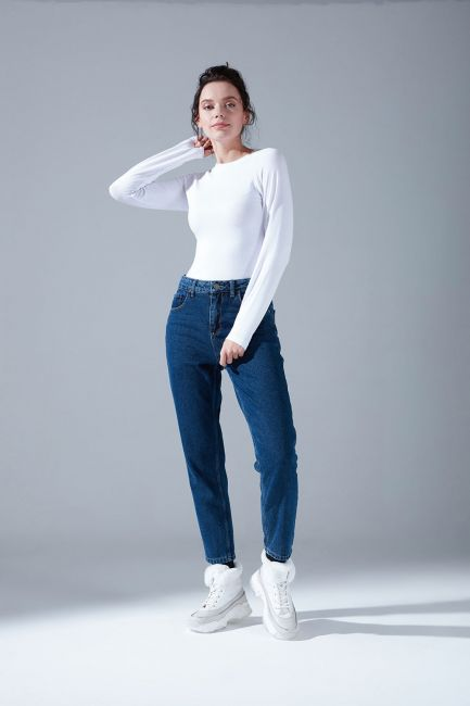 Mizalle - بنطلون جينز كلاسيك (نيلي)