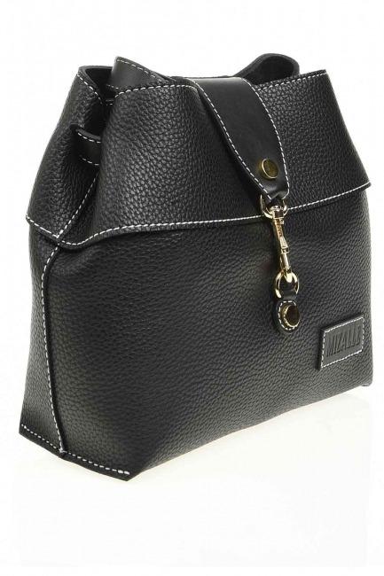 Mizalle - حقيبة كتف كلاسيكية مع مشبك أمامي (أسود) (1)