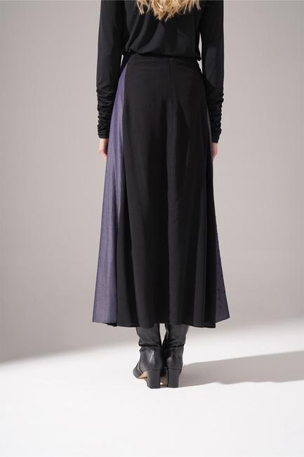 Mizalle - Denim Detailed Maroken Skirt (Black) (1)