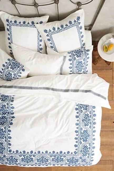 Mizalle Home - طقم فرش سرير كامل مزدوج (منقوش)
