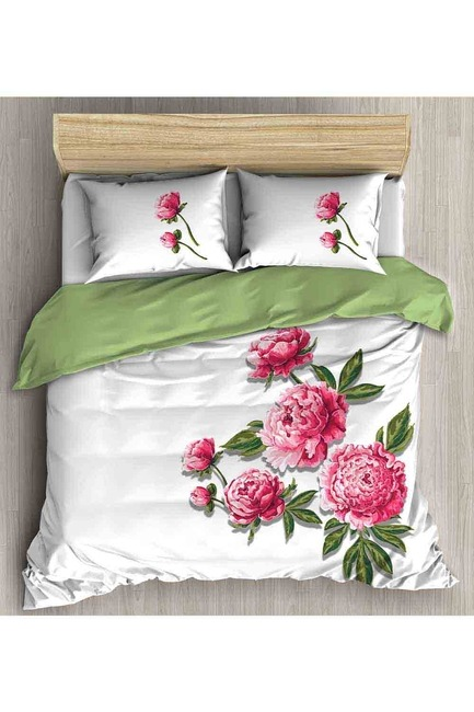 Mizalle Home - طقم فرش سرير كامل مزدوج (وردي)
