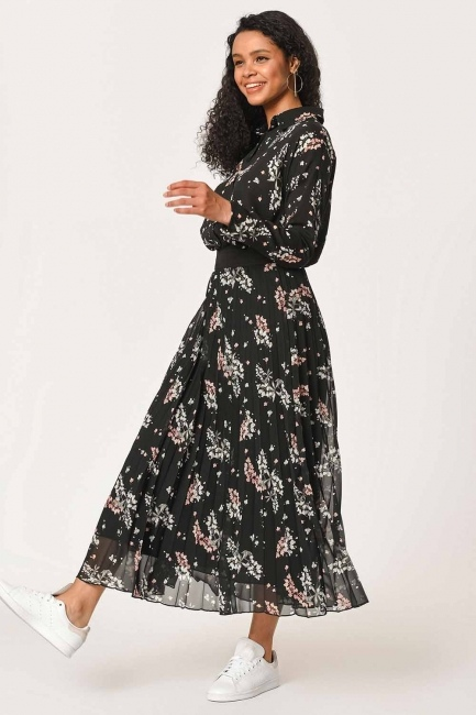 Mizalle - تنورة منقوشة بالزهور(أسود) (1)