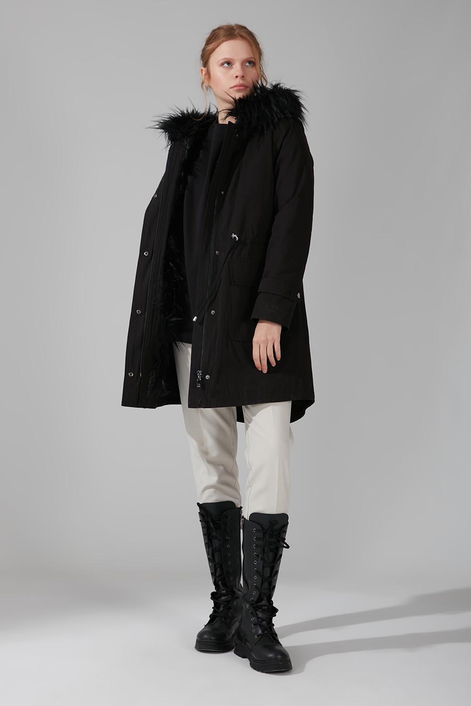 Mizalle - معطف بفرو (أسود)