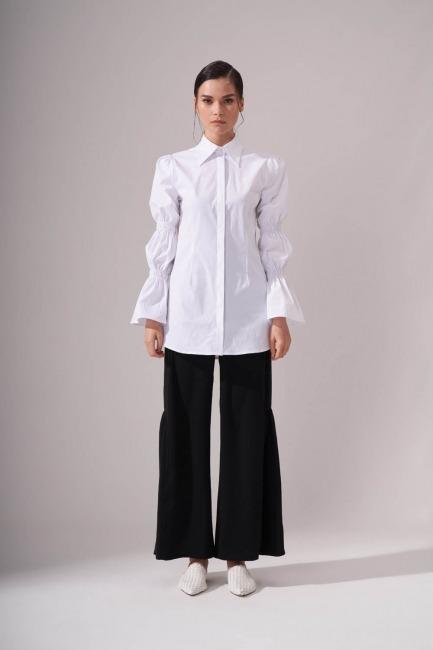 Mizalle - قميص بكسرات مطوية بالكم (أبيض)