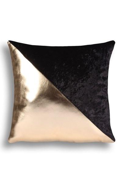 Mizalle Home - غطاء وسادة مخملي ذهبي مخطط (43X43)
