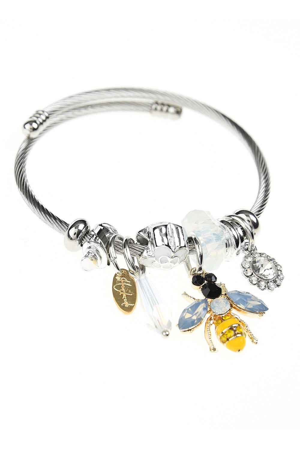 MIZALLE Bee Detailed Bracelet (White) (1)