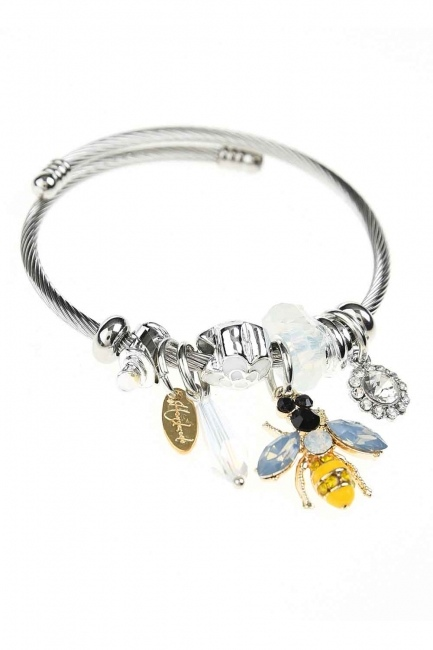 MIZALLE - Bee Detailed Bracelet (White) (1)