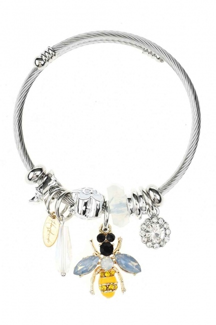 MIZALLE Bee Detailed Bracelet (White)