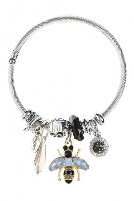 Bee Detailed Bracelet (Black) - Thumbnail