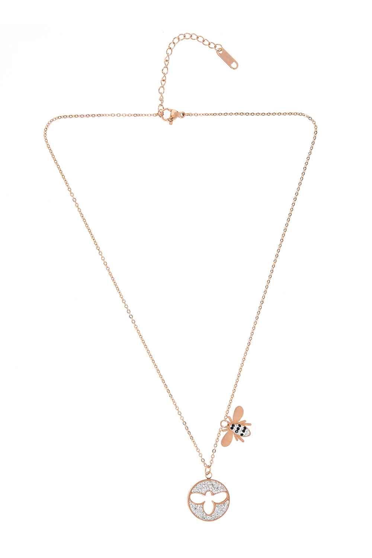 MIZALLE Bee Detailed Steel Necklace (St) (1)