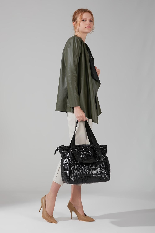 Mizalle - حقيبة يد منفوخة (أسود)