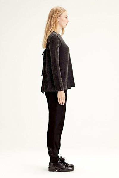 MIZALLE - بلوزة ذات قماش متداخل من الخلف (أسود) (1)