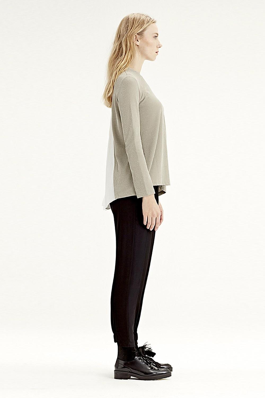 MIZALLE بلوزة ذات قماش متداخل من الخلف (فيزون) (1)