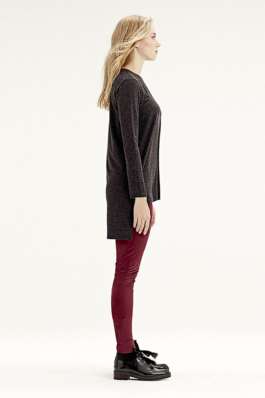 MIZALLE Arkası Uzun Tunik (Siyah) (1)