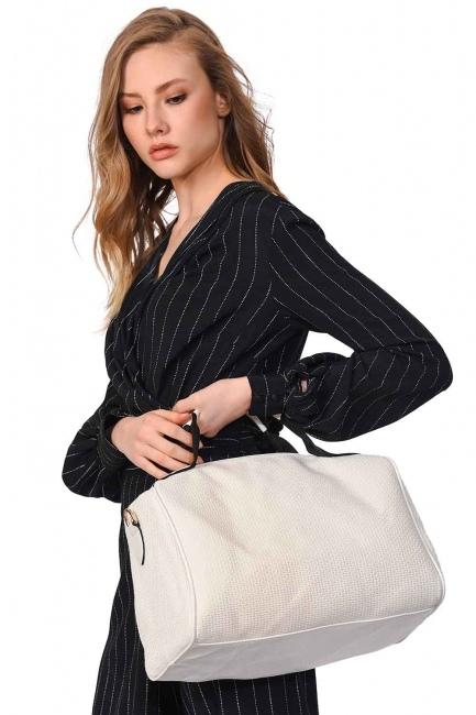 Mizalle - حقيبة يد كبيرة محبوكة (أبيض)