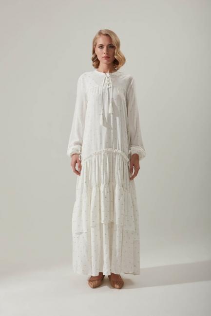 Mizalle - فستان بأكمام طبقات بطيات
