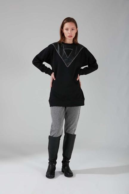 Mizalle - سويت شيرت بتفاصيل جلد (أسود)