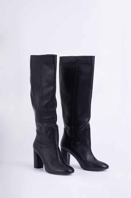 Mizalle - حذاء جلد طويل (أسود)